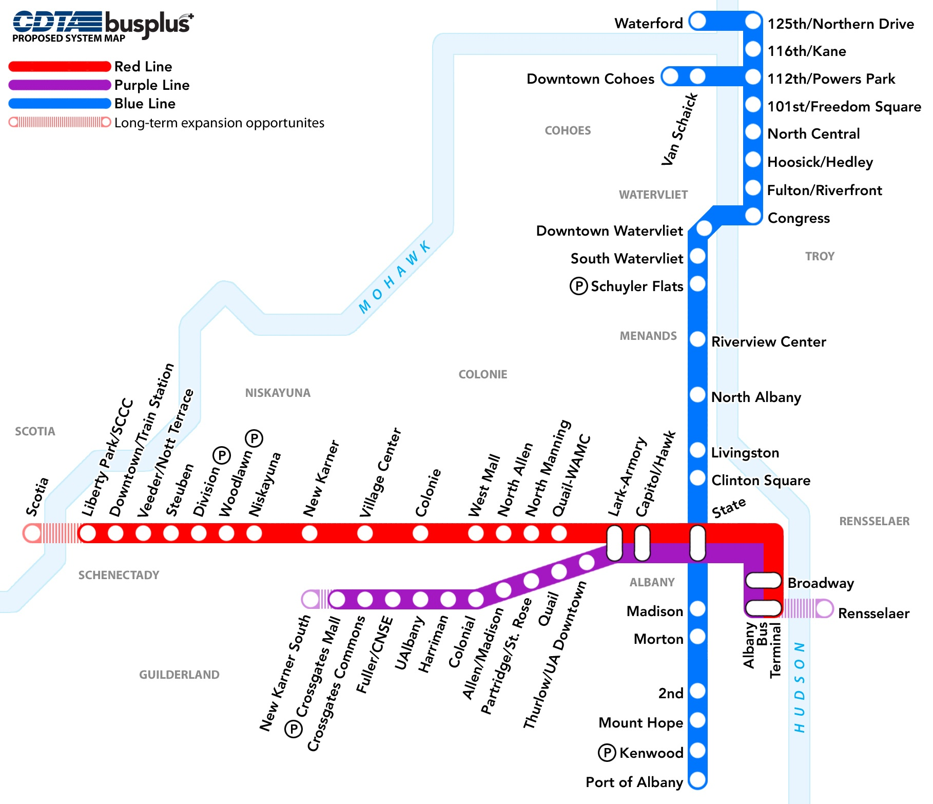 A map of the proposed BusPlus network.The Regional Development Plan called for improvements to mass transit. CDTA's BusPlus network is aimed at bringing improved rider experience with faster service. This map shows the BusPlus routes stretching from downtown Albany to Troy, Schenectady, and Crossgates Mall.