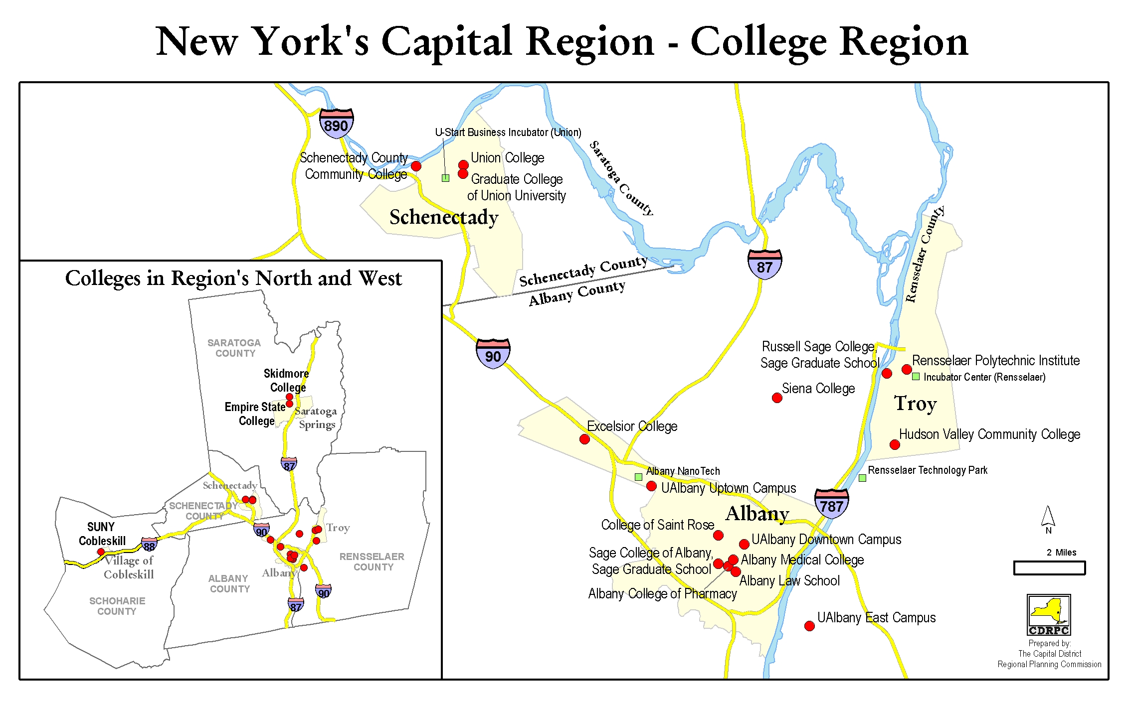 Ualbany Downtown Campus Map.Capital District Colleges Cdrpc